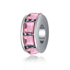 Pink 1pcs Silver CZ European Charm Beads Fit 925 Necklace Bracelet Pendant DIY