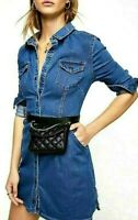 Free People Dynomite Denim Shirt Dress Long Sleeve Mini 70's Western OB885362