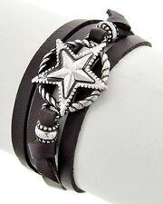 Silver Tone Star Dark Brown Leatherette Multi Strand Wrap Bracelet