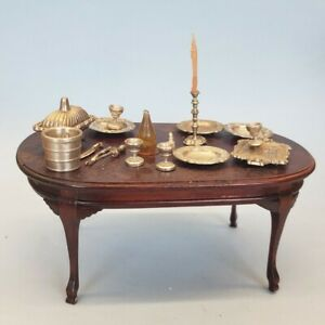 Vintage Bespaq 1/12 Wood Carved Dining Table & Miniature Pewter Dinnerware