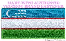 UZBEKISTAN FLAG PATCH UZBEK EMBROIDERED SOUVENIR new w/ VELCRO® Brand Fastener