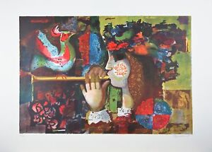 """""""Flute Player"""" by Plaomeuedly Lithograph on Paper Limited Ed. of 300 30"""" x 22"""""""