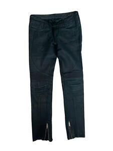 All Saints Leather Biker Trousers In Dark Green - Size 26 - WORN ONCE