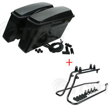Hard Saddlebags Saddle Bags + Conversion Brackets For Harley Davidson Softail