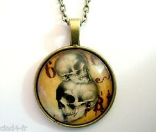 Médaillon vintage + chaine collier bronze-Medallion +Chain necklace-Skull/crâne