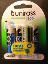 4 x UNiROSS AA R06 800 mAh SOLAR LIGHT Batteries 1.2V NiMH Rechargeable SALE