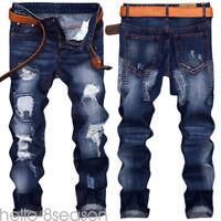 Men Fashion Ripped Denim Jeans Straight Leg Slim Trousers Hip- Casual Pants