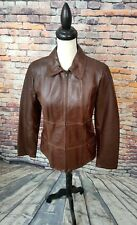 Vera Pelle ITALY Women's Full Zip GENUINE LEATHER Lined Coat Jacket Sz 46 12 EUC