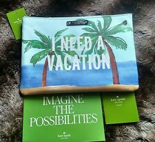 NWT Authentic Kate Spade I Need A Vacation/Breath Of Fresh Air Gia Pouch