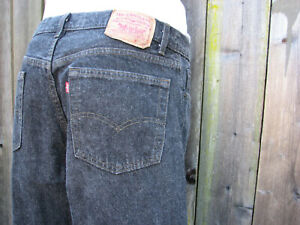 Vintage Levis 501 Button fly Black Jeans Made in USA 34x36