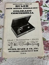 Instructions,Parts List Price for Ruger New Model Single-Six Colorado Centennial