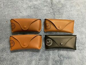 Lot of 4 Ray Ban Brown Tan & Black Leather Cases for Sunglasses Travel Carrying
