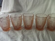 "(5) Tumbler Glasses 4"" Depression Pink Anchor Hocking Diamond Line vertical vtg"
