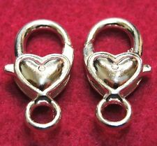 25Pcs. WHOLESALE Tibetan Silver-Plated HEART Lobster Clasps 27x11mm Q0921