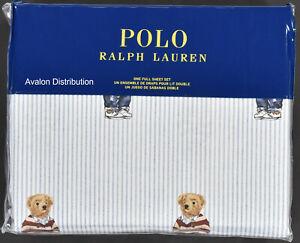 Polo Ralph Lauren Striped Cotton Teddy Preppy Bear 4 PC Full Sheet Set New