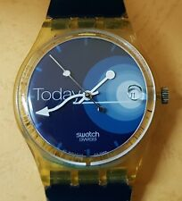 SWATCH CLEAR PLASTIC CASE,  BEAUTIFUL MULTI COLOR DIAL - AG1998 - SWISS  WATCH