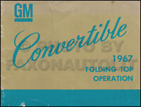 1967 Pontiac Convertible Top Owner Manual Bonneville Catalina GTO LeMans Tempest
