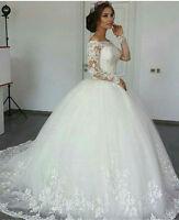 Ivory/White Long Sleeve Wedding Dress Bridal Gown Custom Size 4 6 8 10 12 14 16+