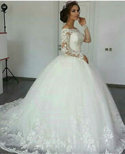 Ivory/White Long Sleeve Wedding Dress Bridal Gown Custom Size 4 6 8 10 12 14 16+