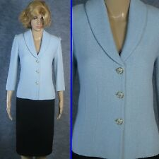 FABULOUS! ST JOHN COLLECTION  TEXTURED KNIT BLUE JACKET LINED SZ 8