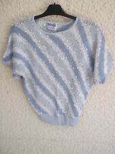 PULL MANCHES COURTES RAYE BLEU BLANC GRIS - MARQUE PICCADILLY - taille 38-40