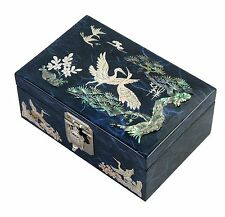 Lacquer inlaid mother of pearl wood  trinket jewelry jewel box crane blue