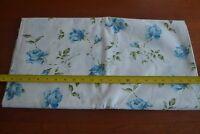 By 1/2 Yd, Vintage Blue & Green Floral on White Stiffer Cotton, N1219