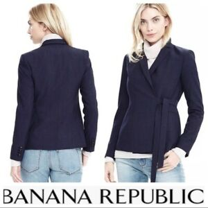 Banana Republic XL 14 Navy blue Wrap Tie Light Weight Wool Suiting Blazer Chic
