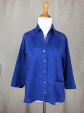 CHICOS Jacket 0 Royal Blue Microsuede Top Shirt sz XS S