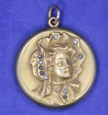 Antique Victorian Gold Filled Repousse Lady In Bonnet Locket