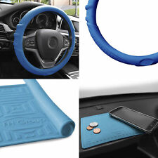 Silicone Steering wheel cover Grip Marks w/ Blue Dash Mat Blue For Car