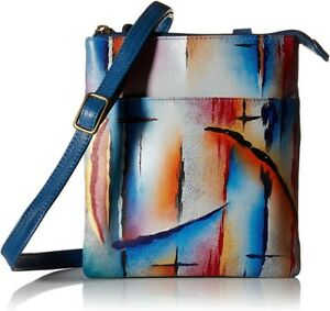 "Anuschka Leather Hand Painted ""Northern Skies"" Triple PFID Cross Body Handbag"