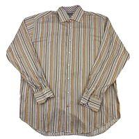 Thomas Dean Mens Striped Cotton Long Sleeve Flip Cuff Button Up Shirt Size XXL