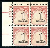 USAstamps Unused VF US $1 Postage Due Plate Block Scott J100 OG MNH Dull Gum