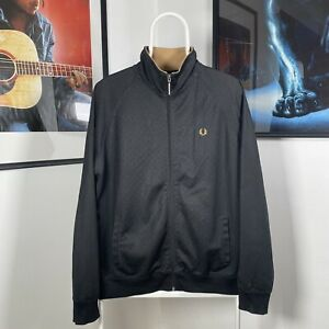 Mens Vintage FRED PERRY Full Zip Collared Track Top Jacket - Black/Gold - Large