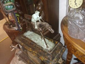 Horse Jockey Bronze Clock Topper Reproduction Sculpture 11 inches Art Deco
