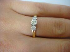 18K GOLD THREE-STONE DESIGN DIAMOND LADIES ENGAGEMENT-ANNIVERSARY RING 0.50CT TW