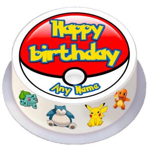 Kids Birthday Pokemon Round Edible Cake Topper Personalised for 7 / 8 inch Cake