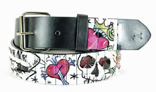 Mens Designer Studded Belt (New S) Flowers & Hearts, God, Genuine Italian Design