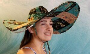 Vintage Mid Century Polynesian Tiki Island Pattern Wide Sun Hat Fabric Beach