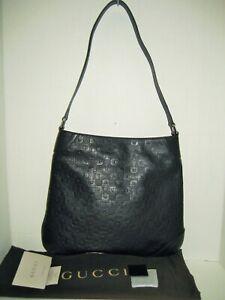 NEW GUCCI Embossed Horsebit Logo Hobo Black Leather Shoulder Bag Handbag Purse