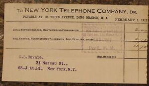 Vintage New York Téléphone Company Paid Reçus Février 1912 ~# 502C