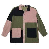 SHEIN ColorBlock Corduroy Shirt Jacket Oversize XS Button Front Pink Green Black