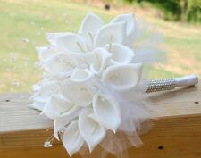 Wedding Silk Bridal Bridesmaid Bouquet white calla lily rhinestone diamond band