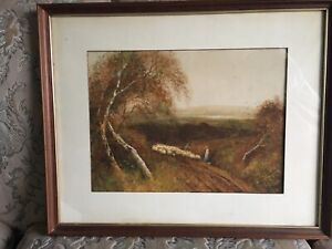 Antique Fred Hines Victorian Watercolour painting Signed Framed Glazed Landscape