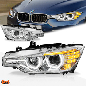 For 12-16 BMW 3-Series F30/F31 Dual LED 3D U-Halo+DRL Projector Headlight Chrome