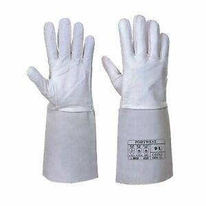 Portwest A520 Tig Welding Gauntlet Grey Leather Gloves Work Safety Welders Wear