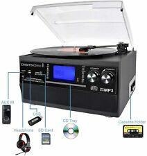 More details for digitnow! bluetooth vinyl record player turntable, cd, cassette, am/fm radio sd