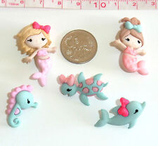 Novelty Buttons Mermaids Dolphin Seahorse Knitting Sewing Quilting & Craft  #508