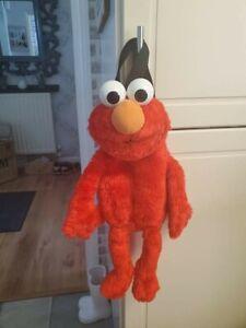 Sesame Street Elmo Plush Doll Backpack Soft Toy Bag Zip 1997 Jim Hanson